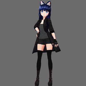【VRoid&セシル変身】コートスタイルセット(ショートデニム、ベルトブーツ付き)【ワーンピース用テクスチャ】