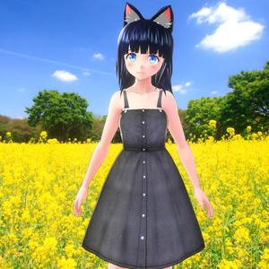 【VRoid&セシル変身用テクスチャ】サロペットデニムスカート(単品販売)
