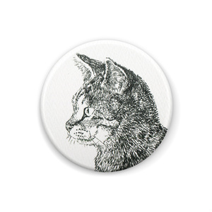 猫の線画の缶バッジ