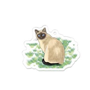 『草の上のシャム』アクリルキーホルダー