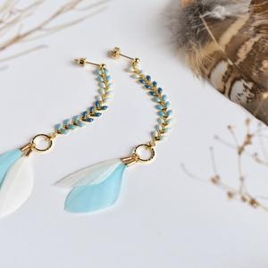 トリの羽飾りイヤリング