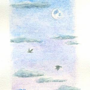 過去作品 スズメ・月のある風景シリーズなどミニ原画
