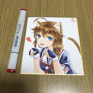 色紙(猫時雨)