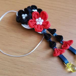もちマス用 つまみ細工 ヘッドドレス(赤×黒)