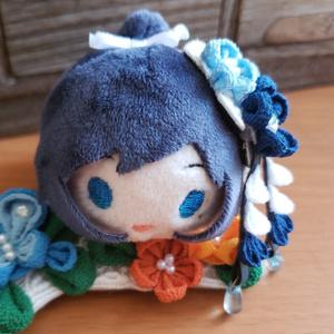 もちマス用 つまみ細工 ヘッドドレス(青×白)