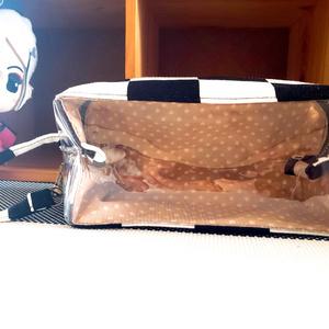 ぬい用 持ち運びポーチ (黒×白 市松)