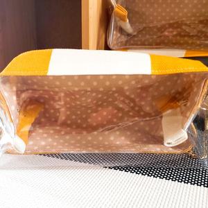 ぬい用 持ち運びポーチ 大窓 (黄×白ボーダー)