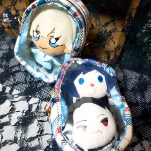 豆ポーチ(赤×青チェック 窓付)