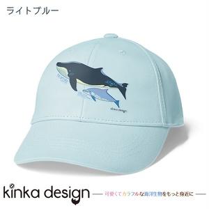 ナガスクジラとミナミハンドウイルカ_キャップ(ホワイト・ライトブルー)