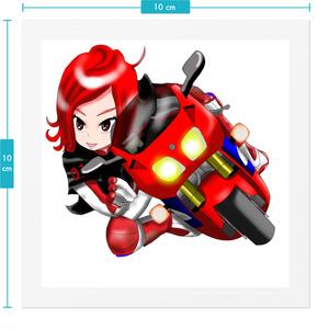 走り屋系バイク女子赤色のつばさステッカー