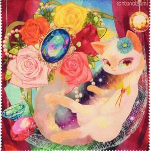猫とお花と宝石イラストのマイクロファイバークロス*眼鏡拭きにも