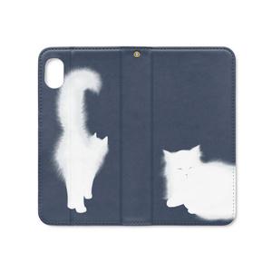 白猫ー手帳型iPhoneケース(ベルトなし)