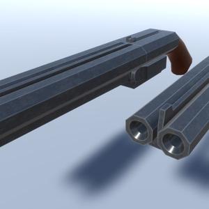 水平二連散弾銃3Dモデル「キャッツレイ」(パーティクル同梱)