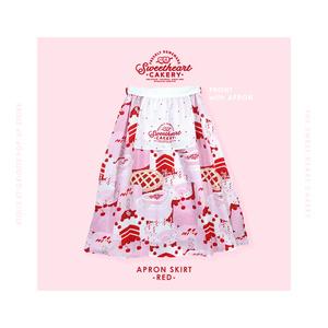 エプロン付きスカート(赤)