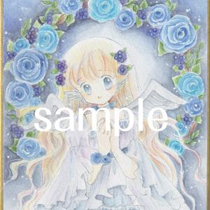 ミニ色紙・青薔薇リースと天使