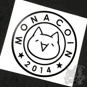 【モナー】モナコイン 屋内カッティングステッカー 黒 100mm