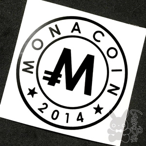【M】モナコイン 屋内カッティングステッカー 黒 100mm
