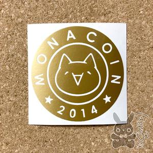 【モナー】モナコイン 屋外カッティングステッカー ゴールド ミニ