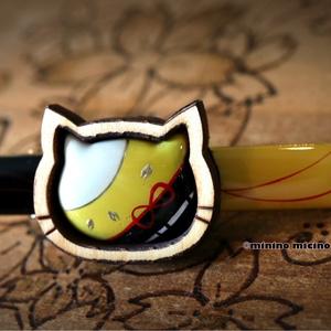 和風ウッディアートキャット&桜クリップ❀狐