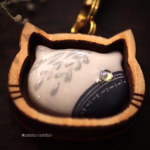 限定作品 猫型木枠アート根付け(ストラップ)❀鶴藤