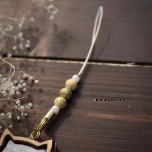 限定作品 木枠桜型アート根付け(ストラップ)❀鶴