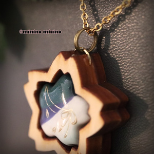 和風ウッドアート桜ペンダント❀青