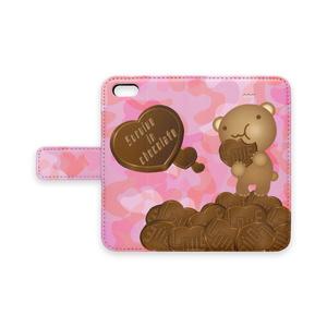 クマチョコ 桃 手帳型iPhoneケース