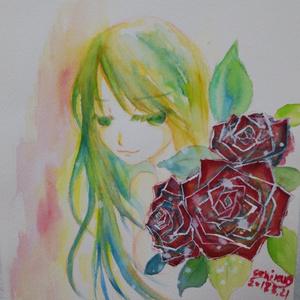 花に身を隠す少女(原画)