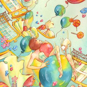 【水彩・墨絵原画】オリジナル A4サイズ
