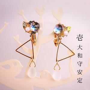 【新選組】ベネチアンガラスの和風イヤリング