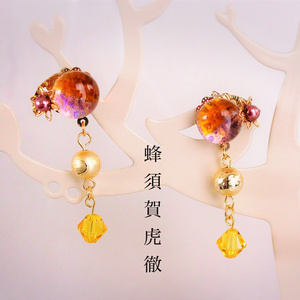 【初期刀イメージ】ベネチアンガラスの和風ピアス