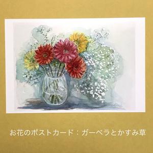 ガーベラとかすみ草:お花のポストカード2枚セット