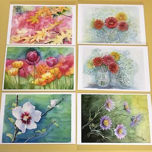 お花の絵のポストカード自家印刷11枚セット