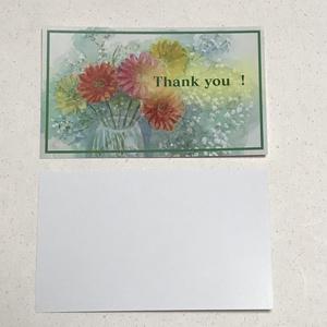 名刺サイズサンキューカード10枚セット:ガーベラとかすみ草1