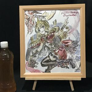 グランブルーファンタジー カリオストロ 墨彩画 原画 (サイン色紙サイズ) 額縁付き 送料込み
