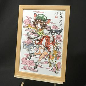 【簡易梱包版】東方Project 橙 コピック画 複製原画 (A4サイズ) 額縁付き 送料込み
