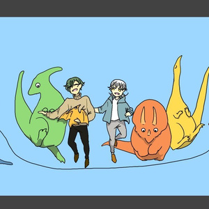 【委託】恐竜となわとびと鳥太刀 ビニールポーチ