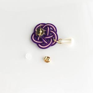 水引×雫パールピアス/イヤリング*紫
