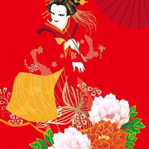 牡丹の赤(ポストカードサイズ)