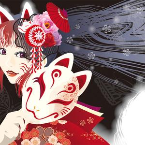 狐〜赤と黒〜(ポストカードサイズ)