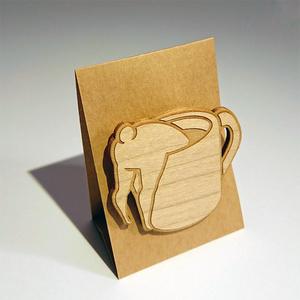 木製ブローチ コーヒー