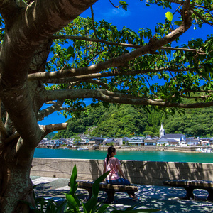 キャンバス地パネル写真「天草下島の世界遺産・﨑津教会を望む」