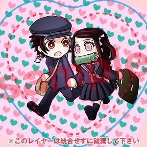 炭治郎&禰豆子 ハート缶バッジ