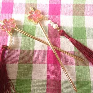 桜かんざし桃