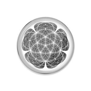 正二十面体万華鏡中心投影図形ピンバッジ
