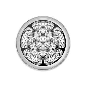 正二十面体万華鏡中心投影(魚眼レンズ)ピンバッジ版
