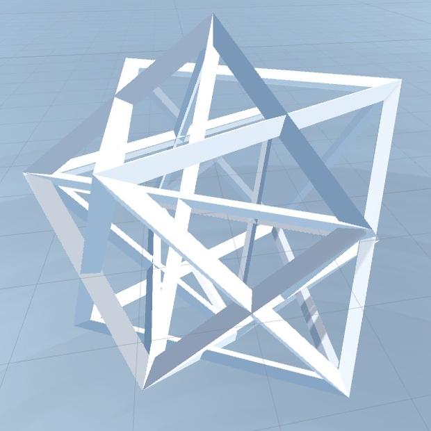 99×4=396多面体ワイヤーフレーム③[立方体+正八面体&星型八面体]多面体ワイヤーフレーム③[立方体+正八面体&星型八面体]