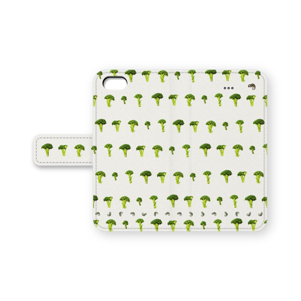 ブロッコリー柄の手帳型ケース