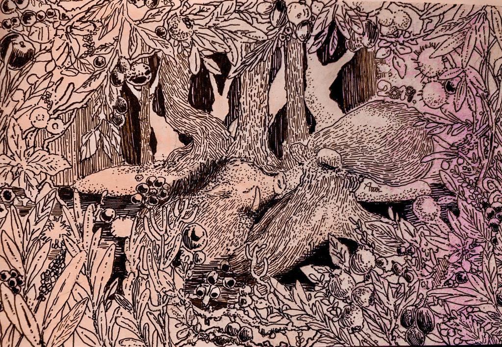 創作 手描きイラストの年賀状 淡い沼 Booth