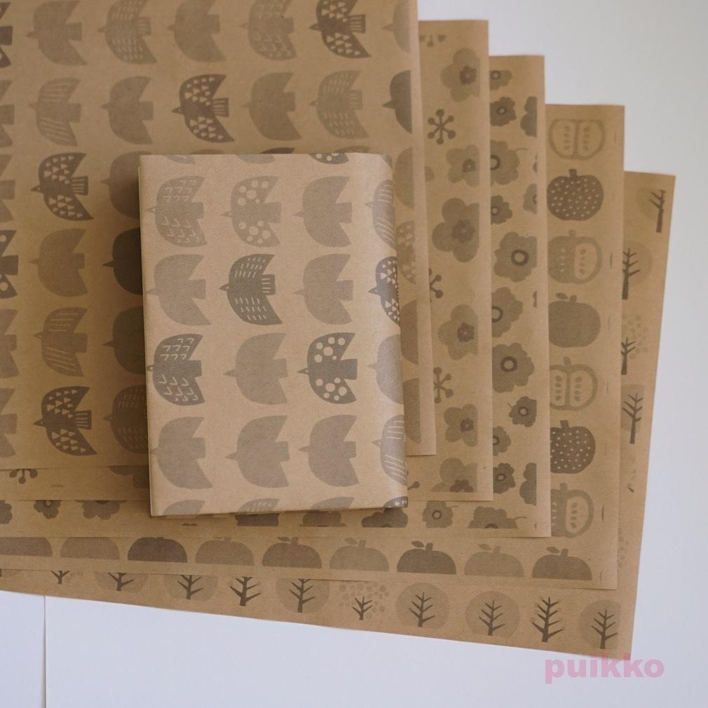 紙製ブックカバー 北欧パターン(モノクロ)